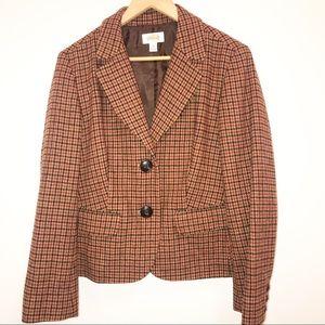 TALBOTS Plaid Wool Orange Blazer-14